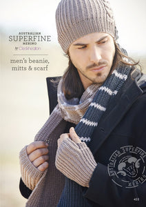 "Cleckheaton Australian Superfine Merino 8ply ""Men's Beanie, Mitts & Scarf"" Knitting Pattern"