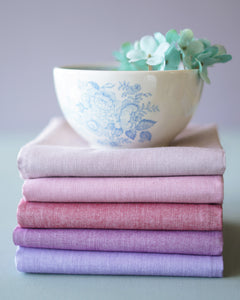 Tilda Chambray Fat Quarter Pink Bundle Pre Cut - Quilt Collection Fabric by Tone Finnanger