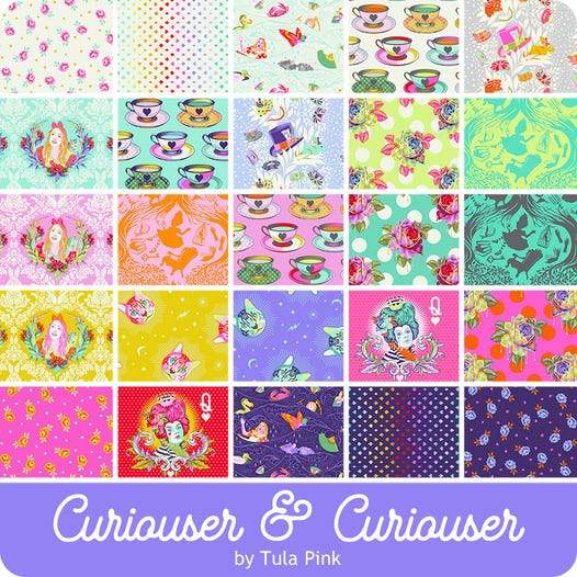 Available for Pre-order - Fat Quarter Bundle - Tula Pink Curiouser and Curiouser Pack of 25 Pieces (for expected delivery May/June 2021) Free Spirit Fabrics