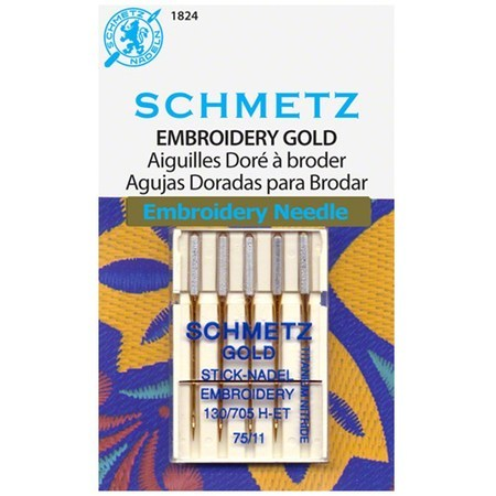 Schmetz Gold Needles - Embroidery 130/705H-ET Size 75/11 for Machine Stitching