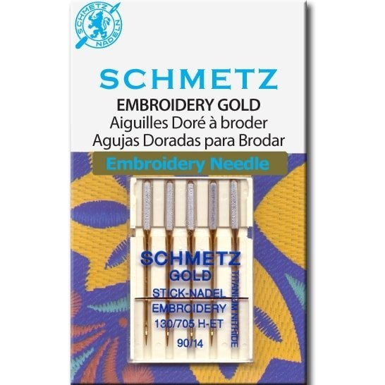 Schmetz Gold Needles - Embroidery 130/705H-ET Size 90/14 for Machine Stitching