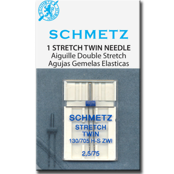 Schmetz Needles - Stretch 130/705H-S ZWI Twin Size 2.5/75 for Machine Stitching