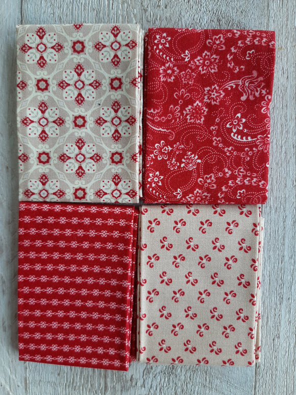 Fat Eighth Fabric Pack - Redwork