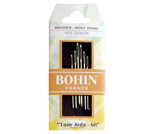 Bohin Tapestry Broder Needles for Hand Stitching Assorted Sizes 22/24/26