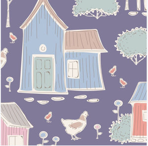 "Tilda ""Tiny Farm - Feature Print in Blueberry "" Quilt Collection Fabric by Tone Finnanger"