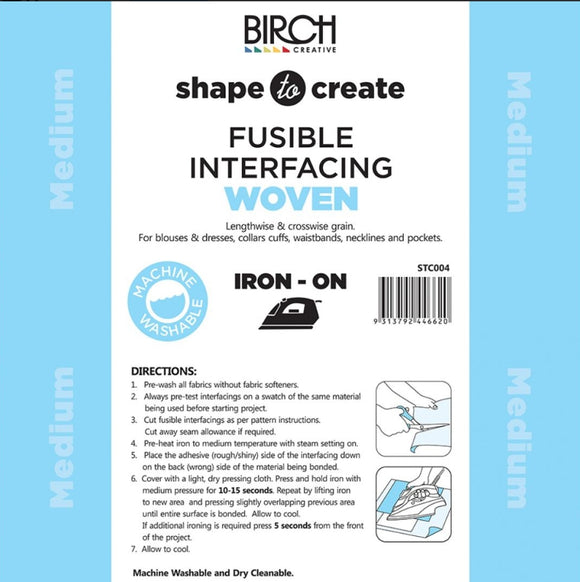 Birch Creative - Shape to Create Fusible Interfacing Woven (Light Weight Woven for Clothing and Stitcheries)