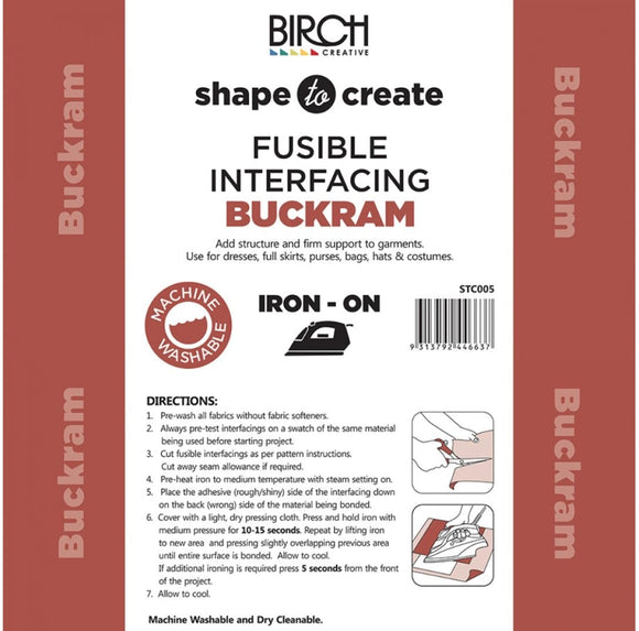 Birch Creative - Shape to Create Buckram Fusible Interfacing Woven