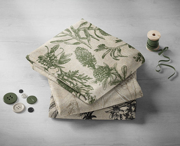 Devonstone Collection - Little Aussie Linen Fabric by Elise Martinson in Olive