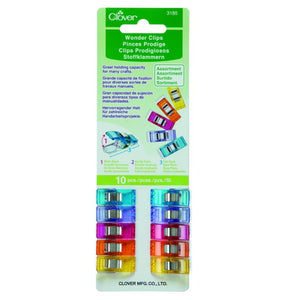 Clover Wonder Clips Assorted Colours Pack of 10
