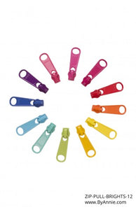 By Annie Purse Parts Zipper Pulls pack of 12 Brights