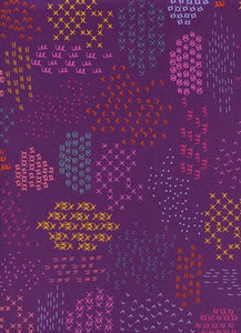 "Cotton+Steel Collection ""Macrame - Pattern Guides in Grape"" Fabric Designed by Rashida Coleman-Hale"