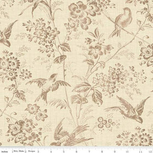 "Penny Rose Fabrics - Toile de Jouy ""Toile Garden in Cream"" by Emily Hayes"