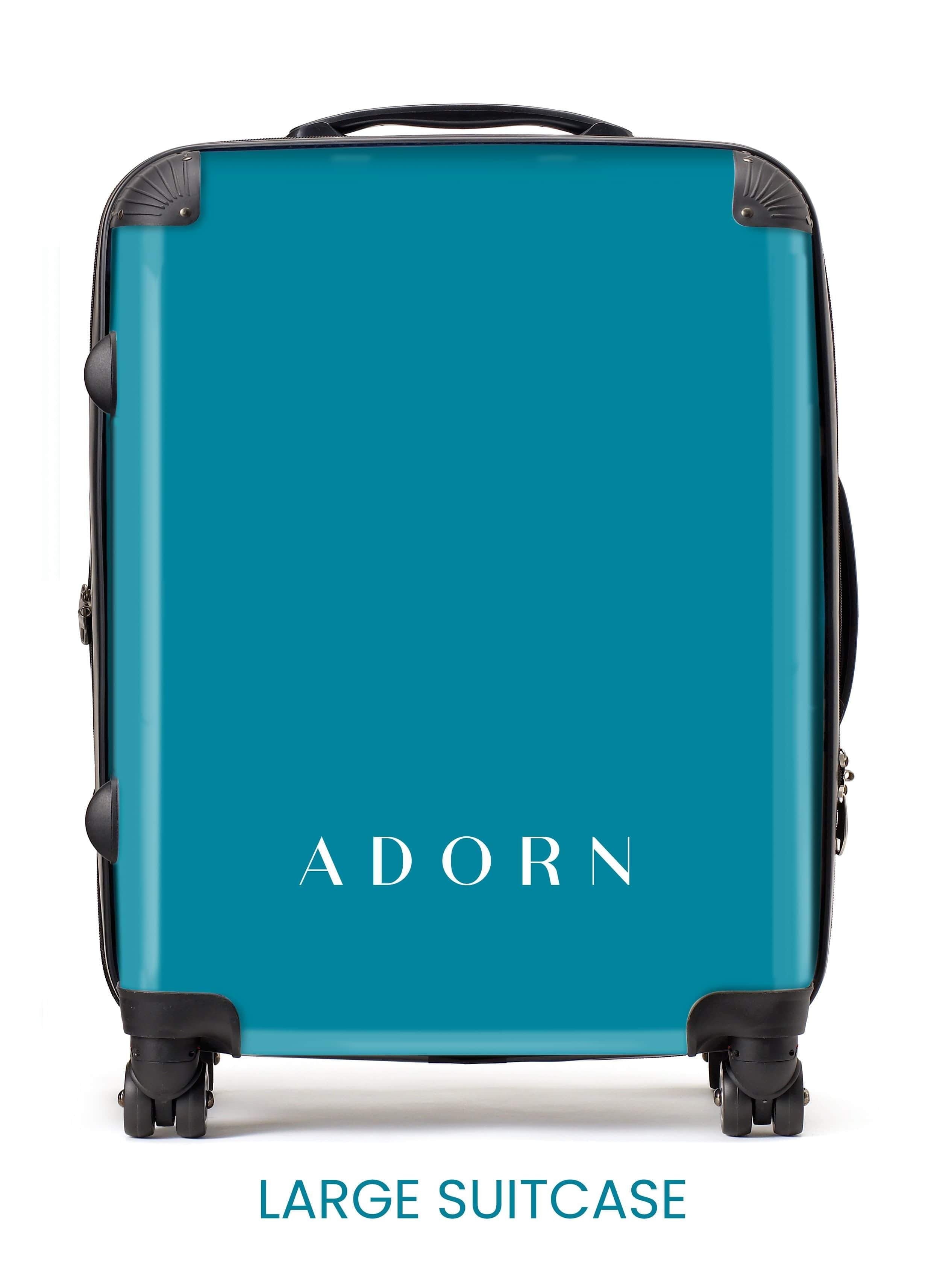 Adorn Black Carbon Fibre Pattern Luggage AA0049