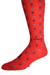 Men's Luxury Dress Socks Double Dot GameDay Bright Red with Black and Gray