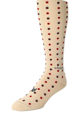 Double Dot Khaki with Blue and Red
