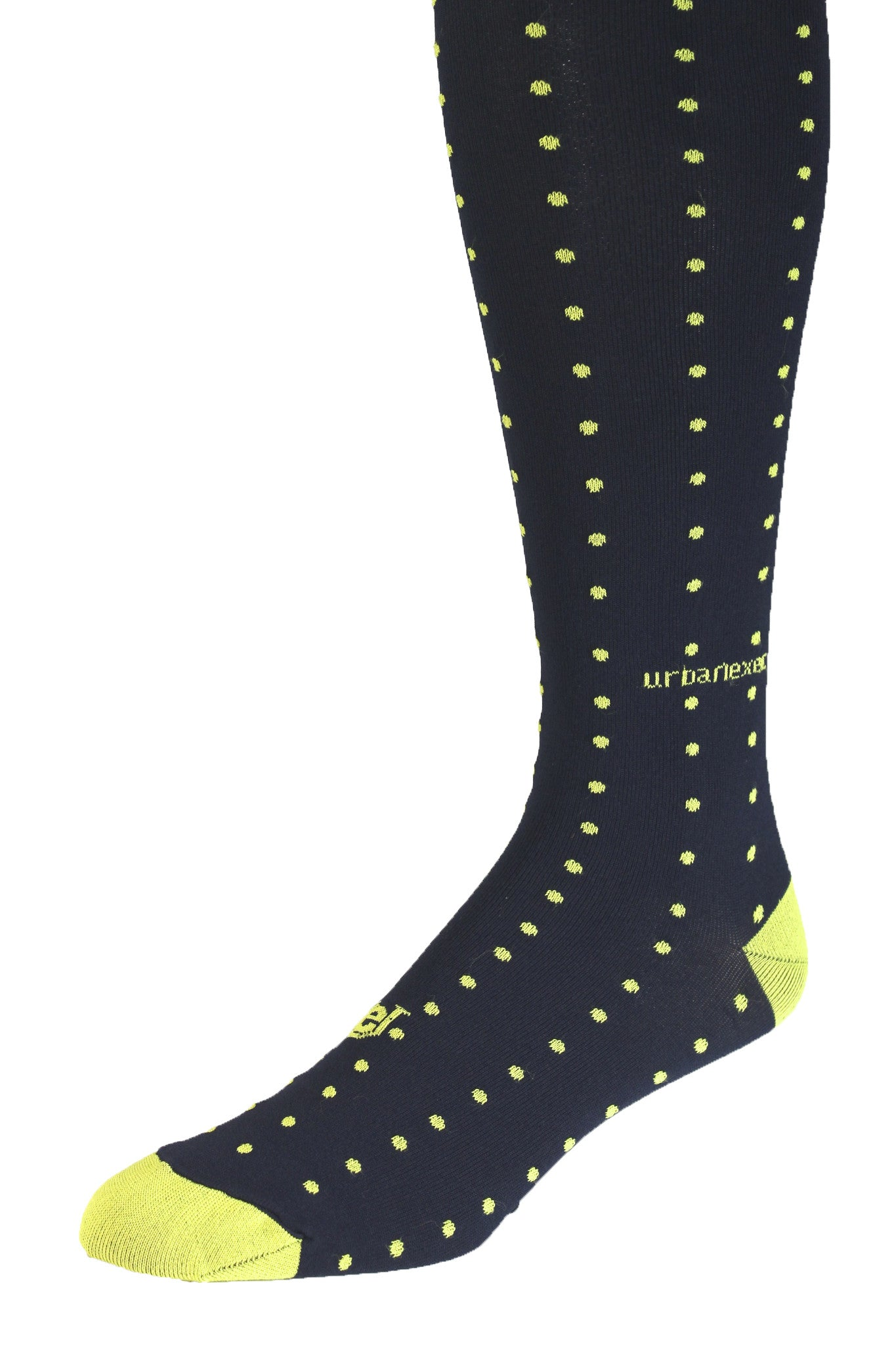 Men's Socks Performance ThinSkin GameDay Dark Blue with Yellow Pin Dots