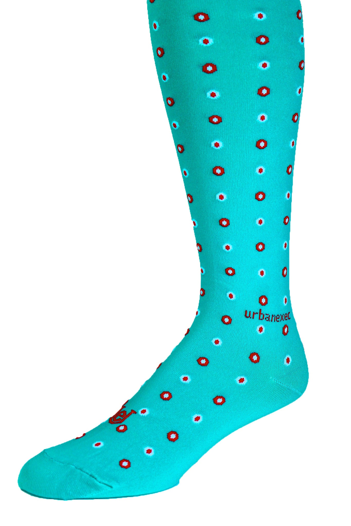 Double Dot Teal with Red and Sky Blue