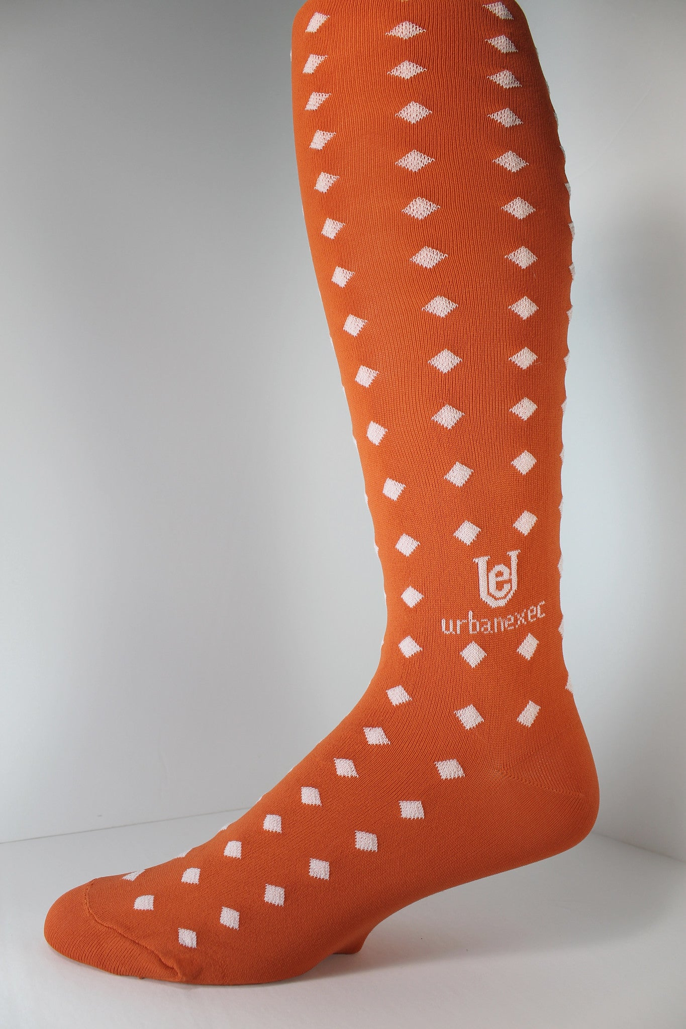 Men's Socks Over-the-Calf ThinSkin Gameday Orange/White Diamonds