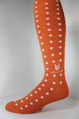 Orange is my Passion! Orange/White Men's Socks Over-the-Calf ThinSkin