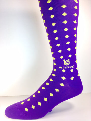 "A Game Day Champ - Purple and Gold Diamonds LET""S GEAUX! Men's OTC Socks"
