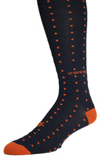 Men's Socks Performance ThinSkin Navy with Orange Pin Dots GameDay