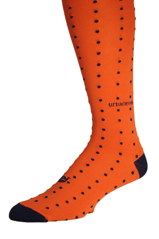 Men's Socks Performance ThinSkin Orange with Navy Pin Dots GameDay