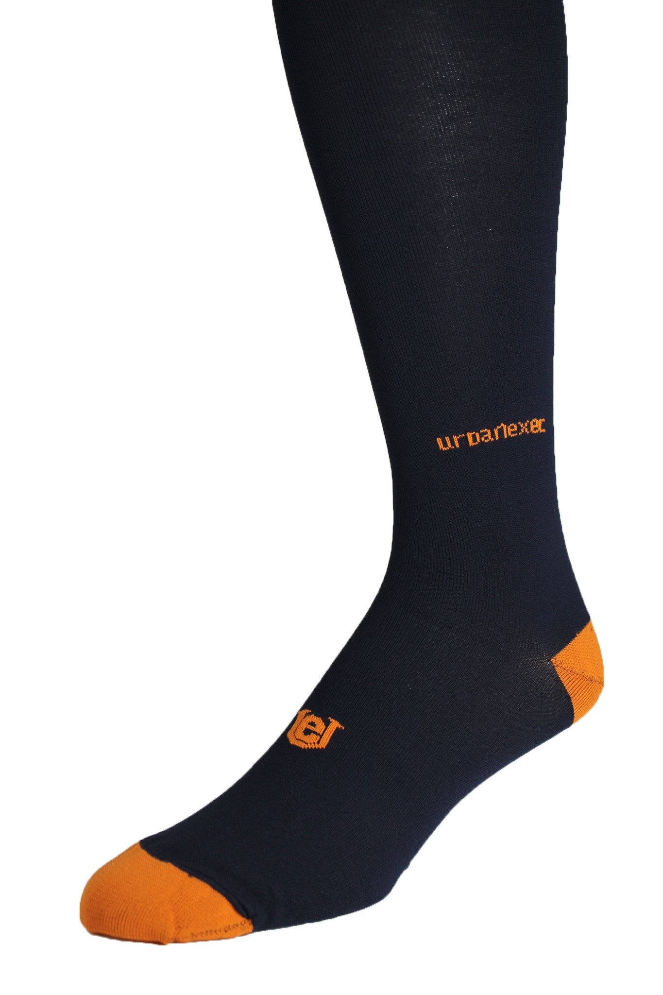 Men's Performance Socks ThinSkin Solid Navy with Orange Tips GameDay
