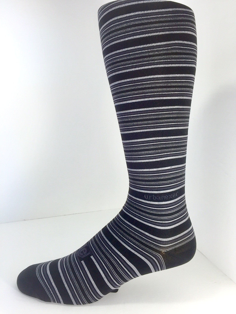 Performance Stripes Men's ThinSkin Socks Black/Charcoal/Gray