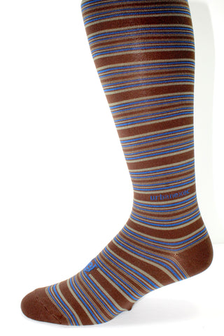 Performance Skin Men's Thin OTC Socks in Brown with Blue and Khaki Stripes