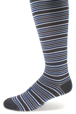 A Brand New Stripe! Charcoal/Blue/Silver in Performance Skin Gameday OTC Mens Socks