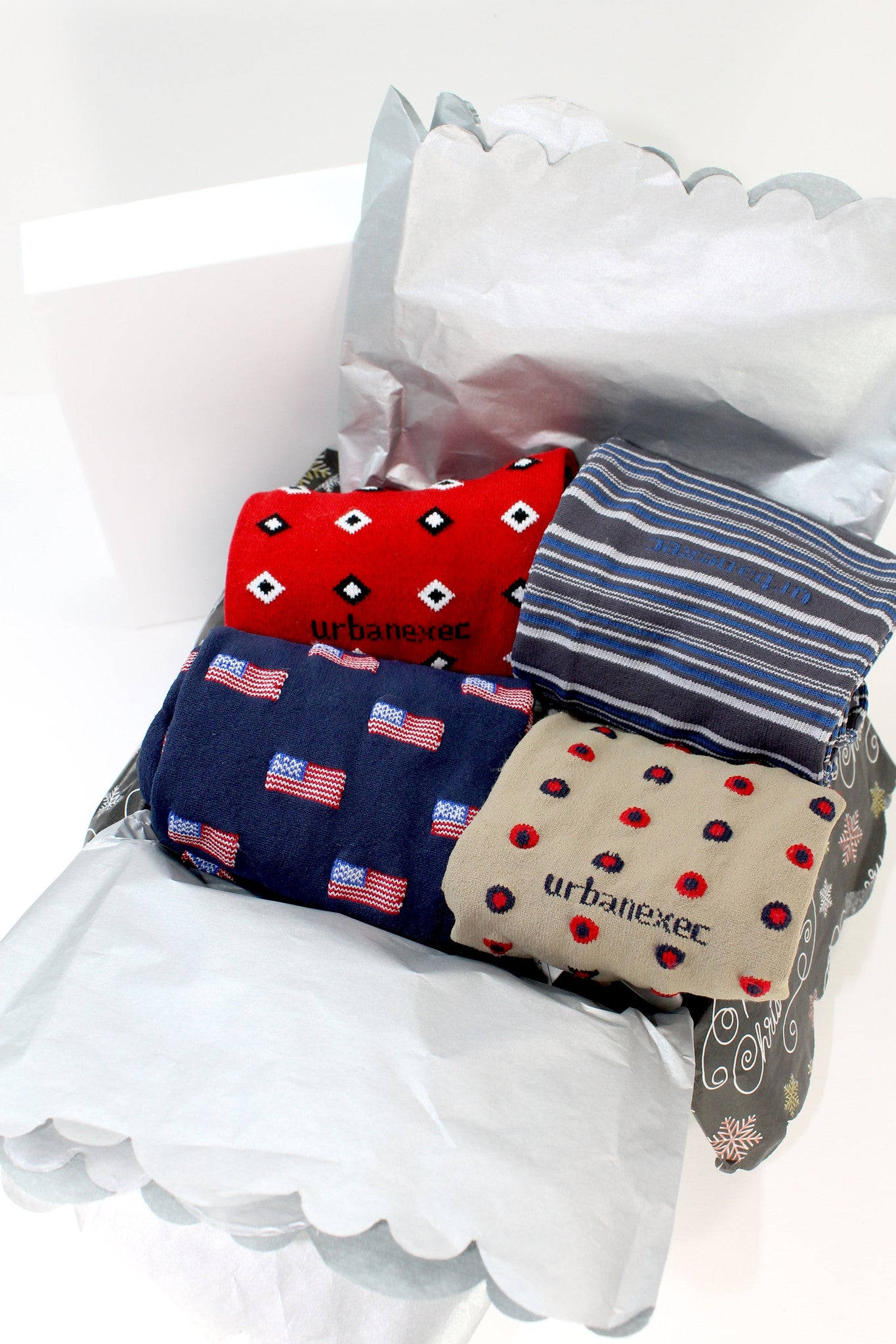 A Custom Gift Box with **4 Pairs of Men's Colorful Over-the-Calf Socks!