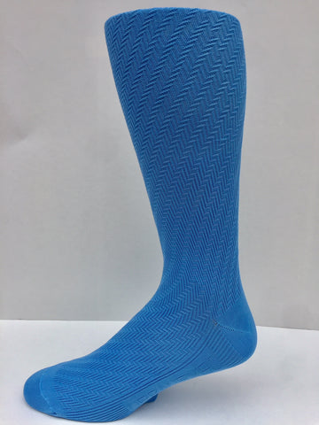 New Spring 2018 Solid Sky Blue Herringbone Pattern Men's Socks OTC
