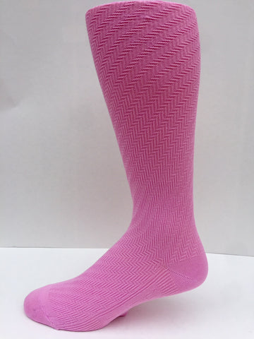 A New Spring 2018 Solid Pink Herringbone Pattern Men's Socks OTC