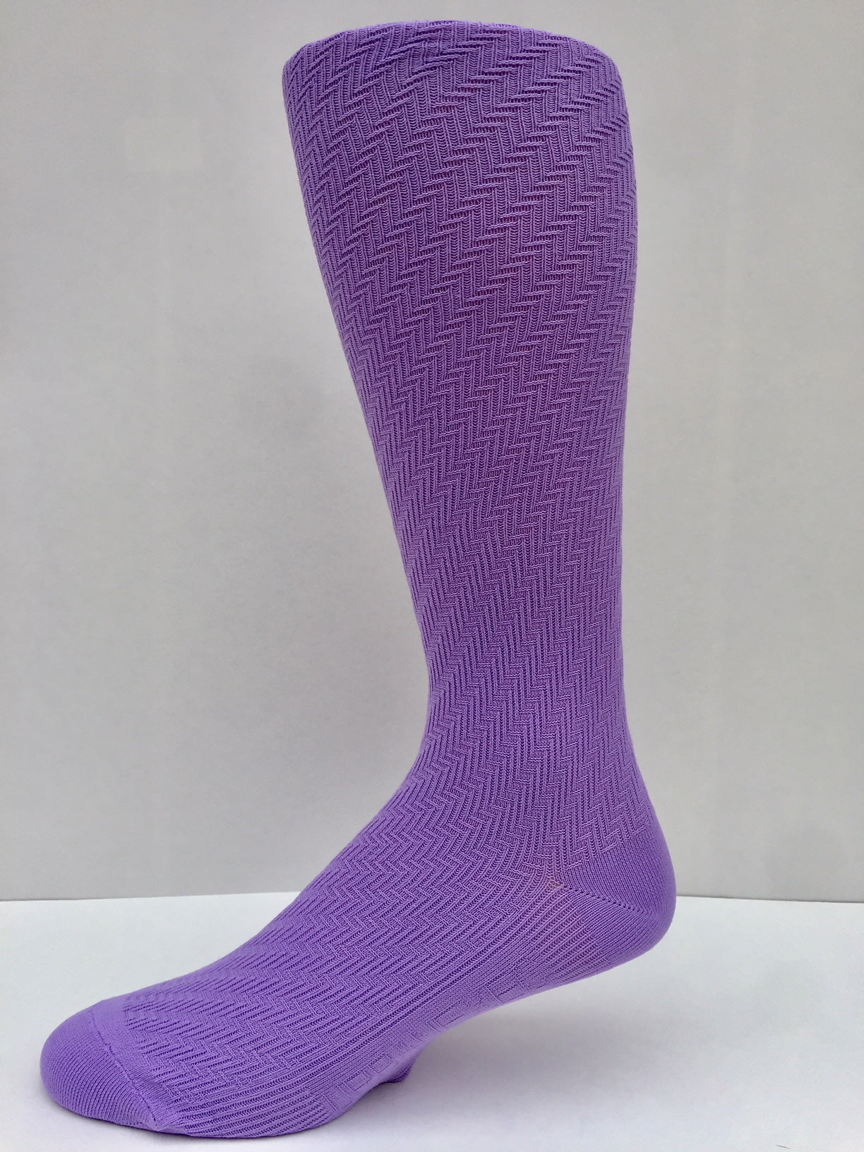 New 2018 Solid Lavender Purple Herringbone Pattern Men's Socks OTC