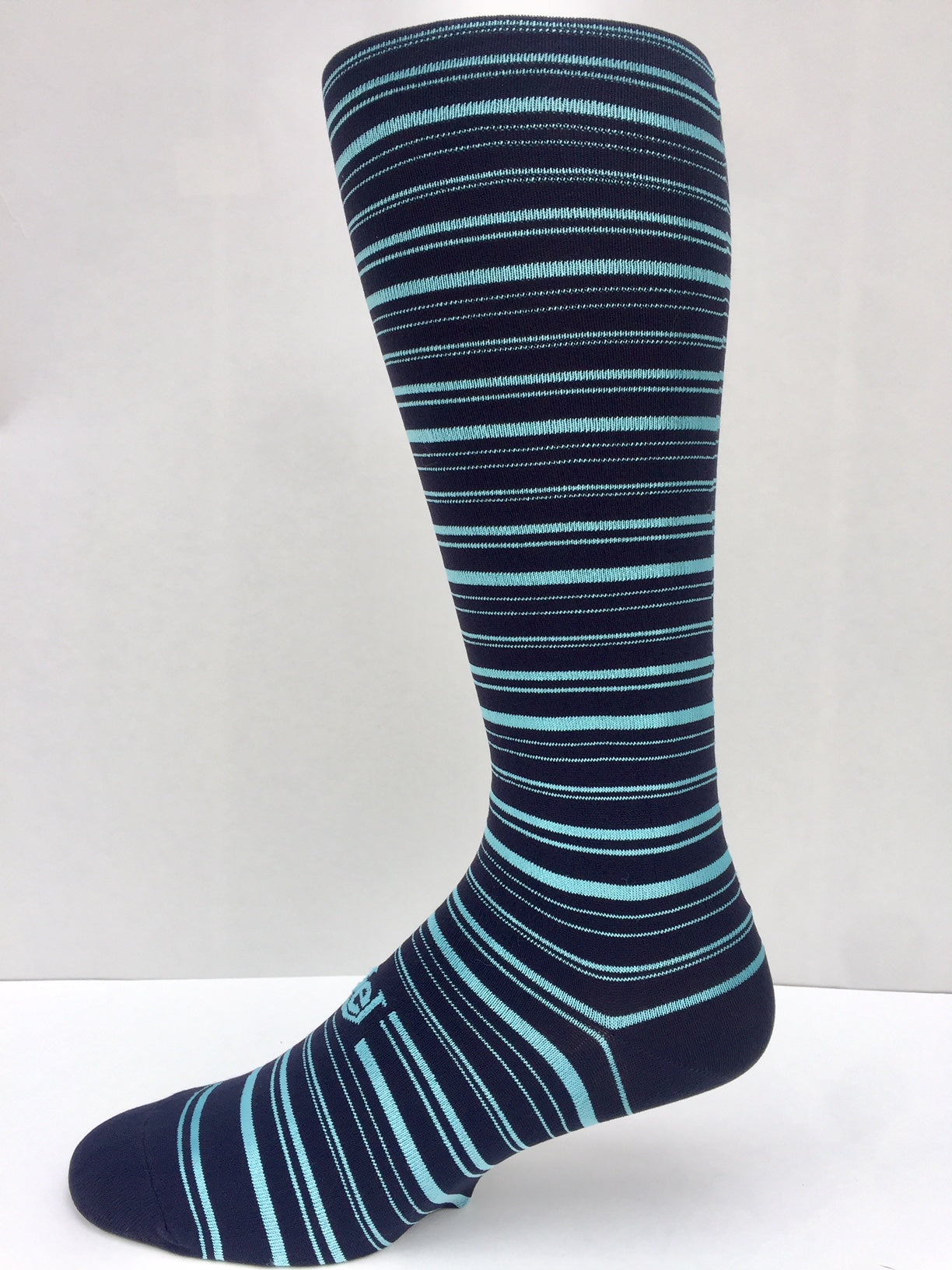New Stripe 2020 Bright Teal on Dark Navy Men's Socks OTC