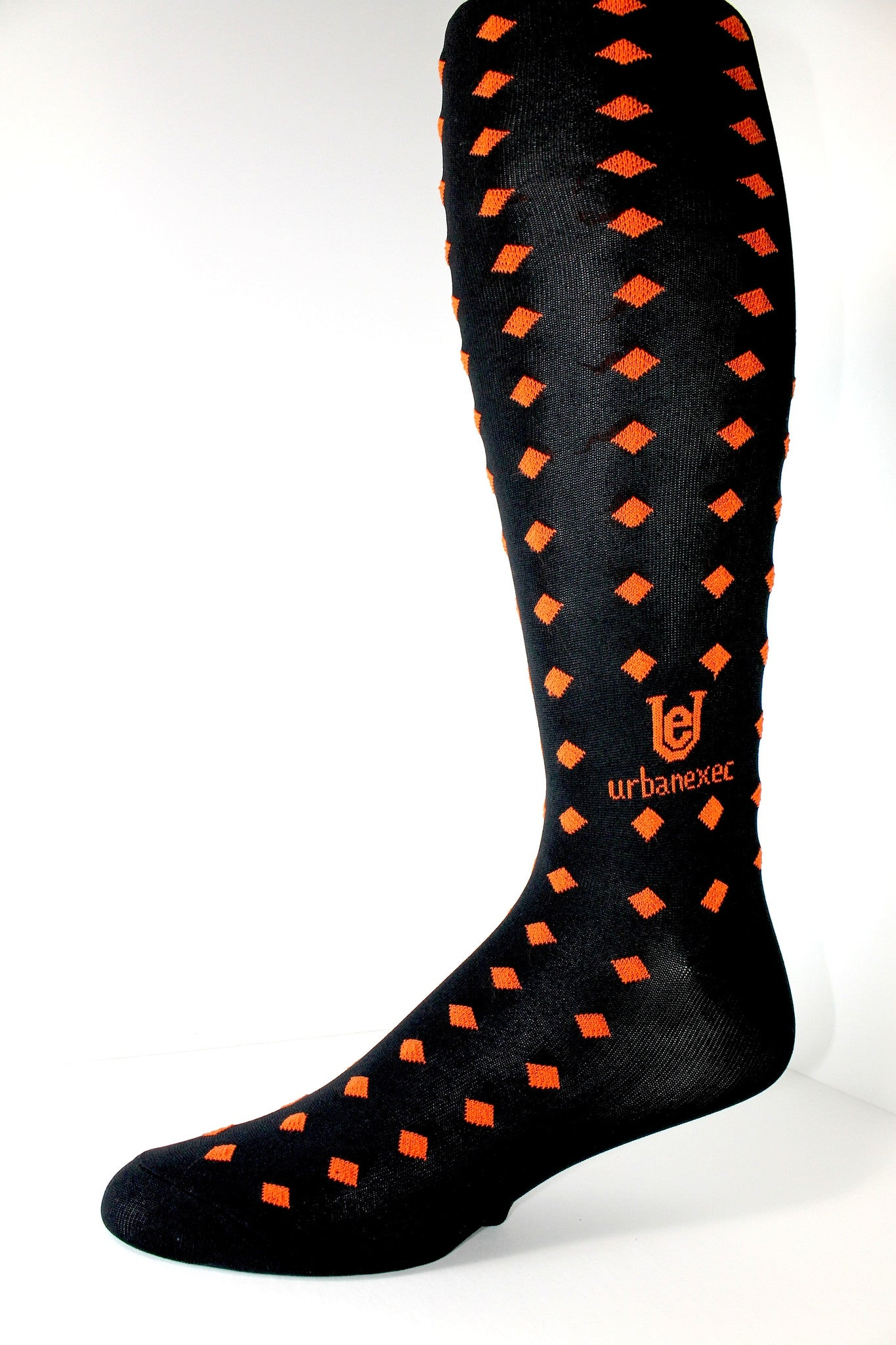 Bold Black/Orange GameDay Team Men's Socks with Diamonds