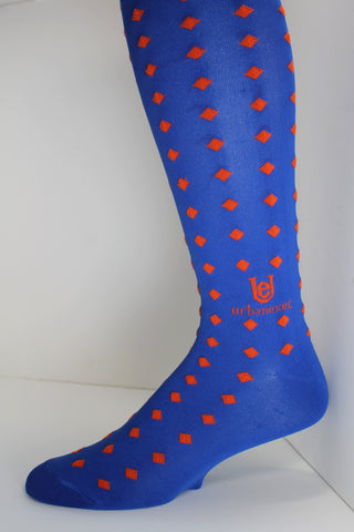 Diamond Gameday in Florida Blue and Bright Orange  Men's Socks ThinSkin blend