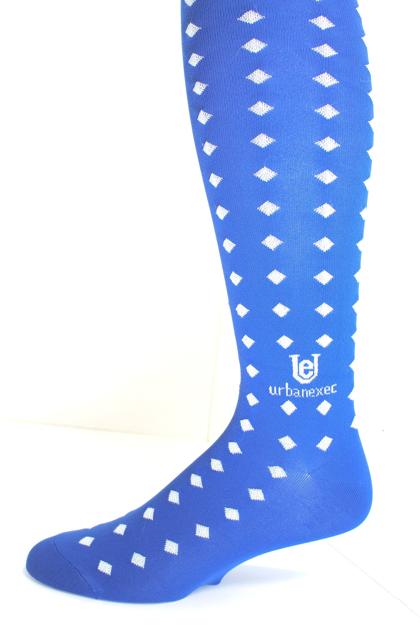 Men's  Socks Over-the-Calf Game Day Blue and White Diamond