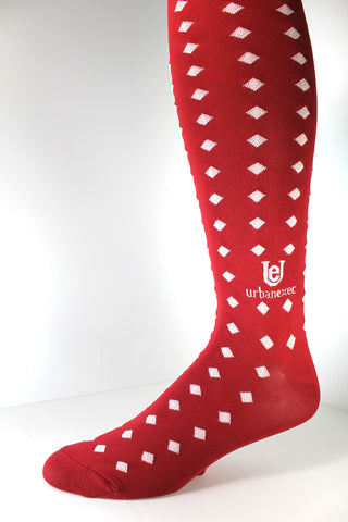 A GameDay Legend! Crimson Red/White Team Colors - Over the Calf Men's socks
