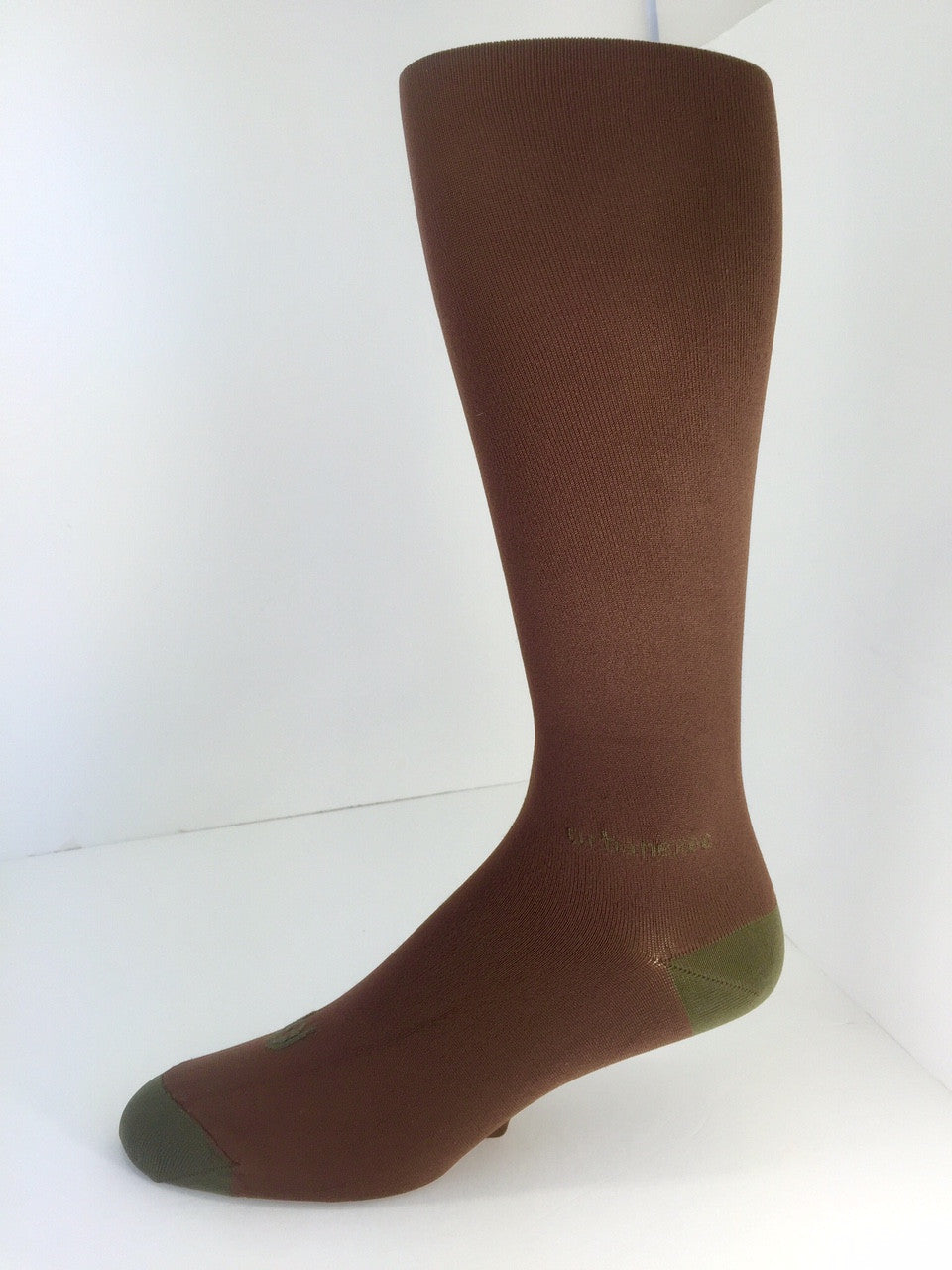 Men's Socks Performance ThinSkin Solid Brown with Dark Khaki tips