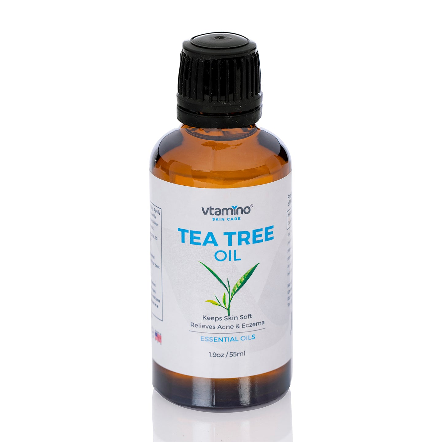 Vtamino Tea Tree Oil (55ml)-Antibacterial & Antiseptic Treatment for Minor Skin Abrasions (55 Days Supply)