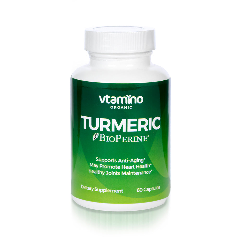 Vtamino Organic Turmeric w/Bioperine – Anti-Aging & Joint Support Supplement (30 Days Supply)