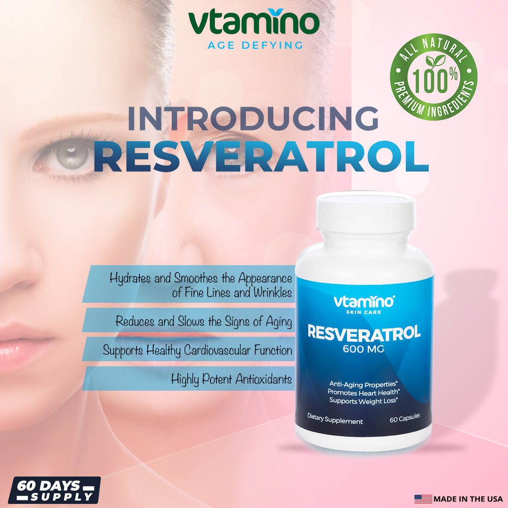 Vtamino Resveratrol-Slows The Signs of Aging & Cell Damage Responsible for Skin Cancers (60 Days Supply)