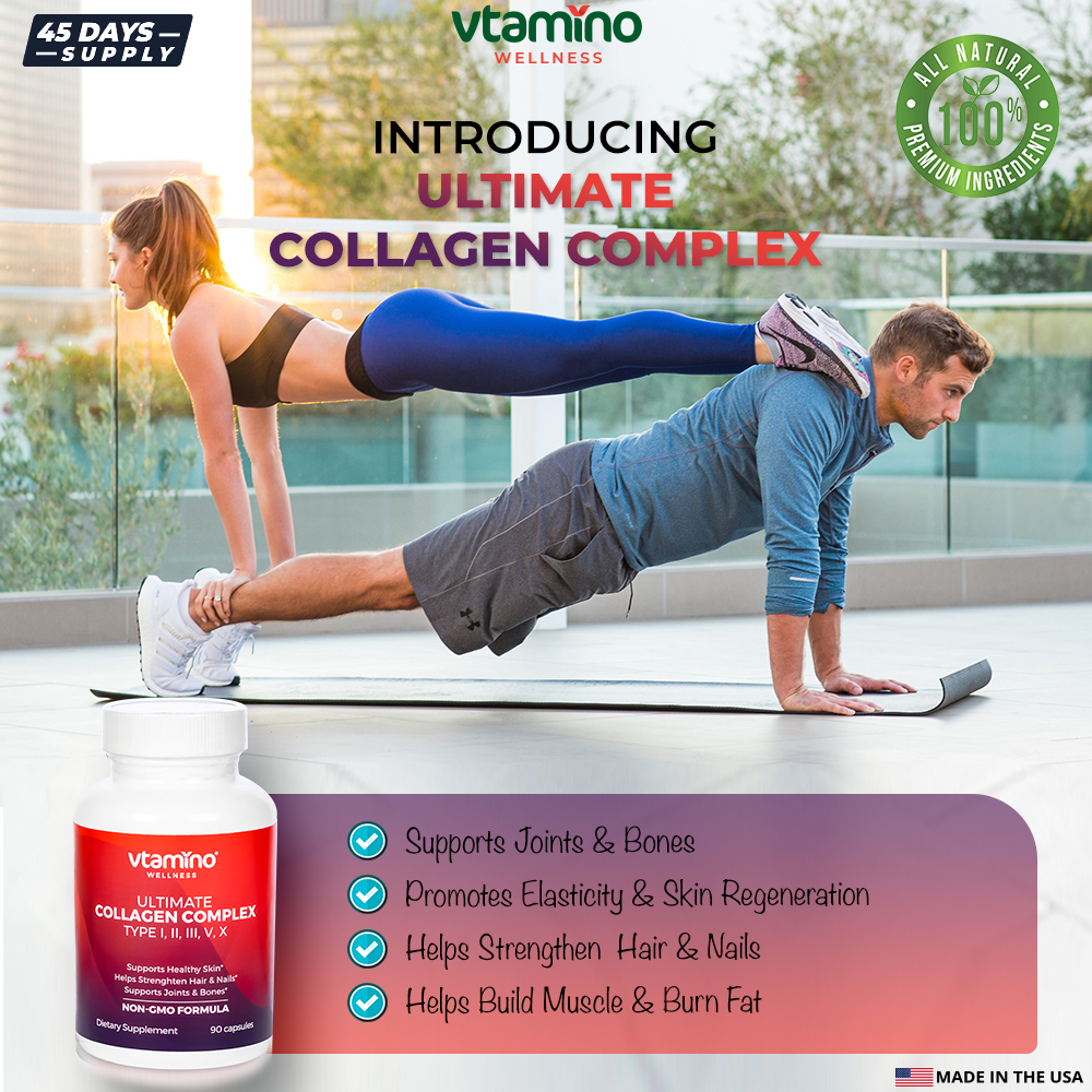 Vtamino Ultimate Collagen Complex-Supports Joints, Hair, Nail & Skin (45 Days Supply)