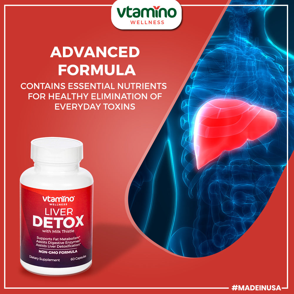 Vtamino Liver Detox with Milk Thistle Complex For Toxin Removal (30 Days Supply)