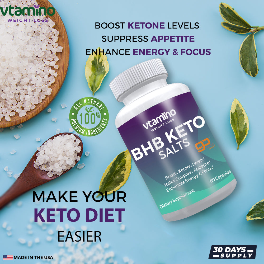 Vtamino BHB Keto Salts-Boosts Ketone Levels & Enhances Energy (30 Days Supply)