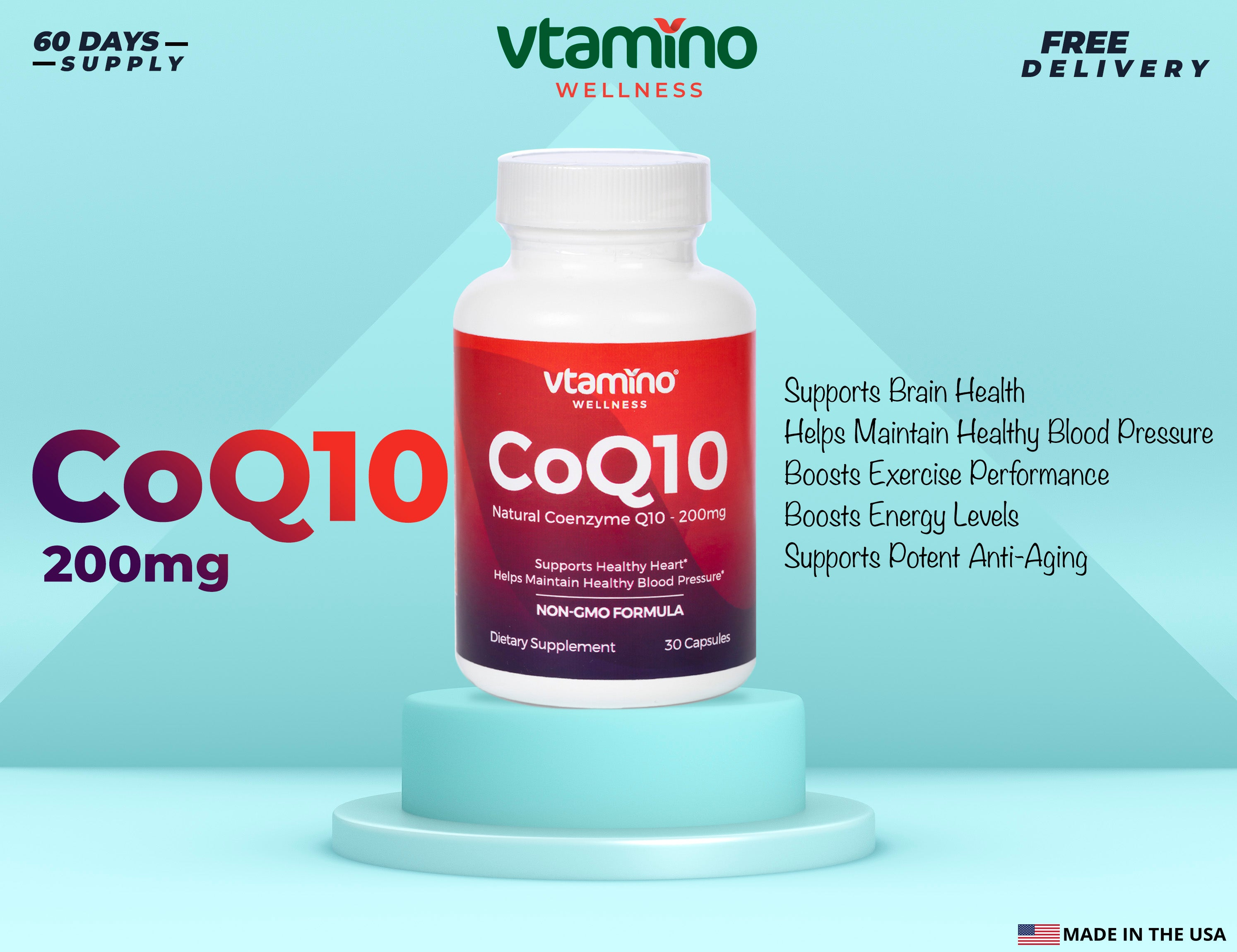 Vtamino CoQ10 Ubiquinone-High Potency For Ultimate Benefits (30 Days Supply)