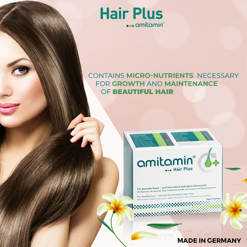 amitamin®Hair Plus-Helps Grow & Maintain Healthy Hair-Made In Germany (30 Days Supply)