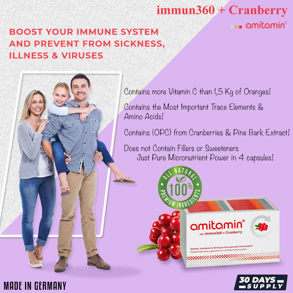 amitamin® immun360 + Cranberry-Boosts Immune System Naturally-From Germany (30 Days Supply)