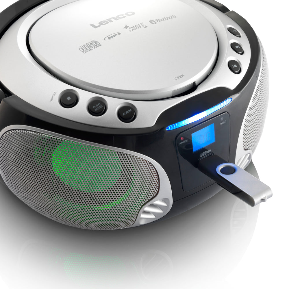 Lenco SCD-550SI - Draagbare FM Radio CD/MP3/USB/Bluetooth-speler met LED verlichting - Zilver